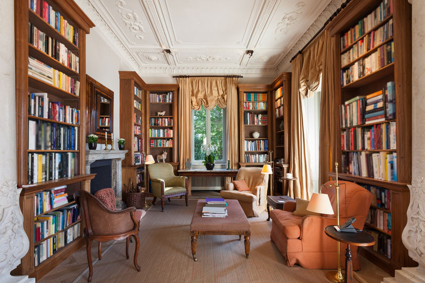 48094330 - interiors, classical library in a period mansion
