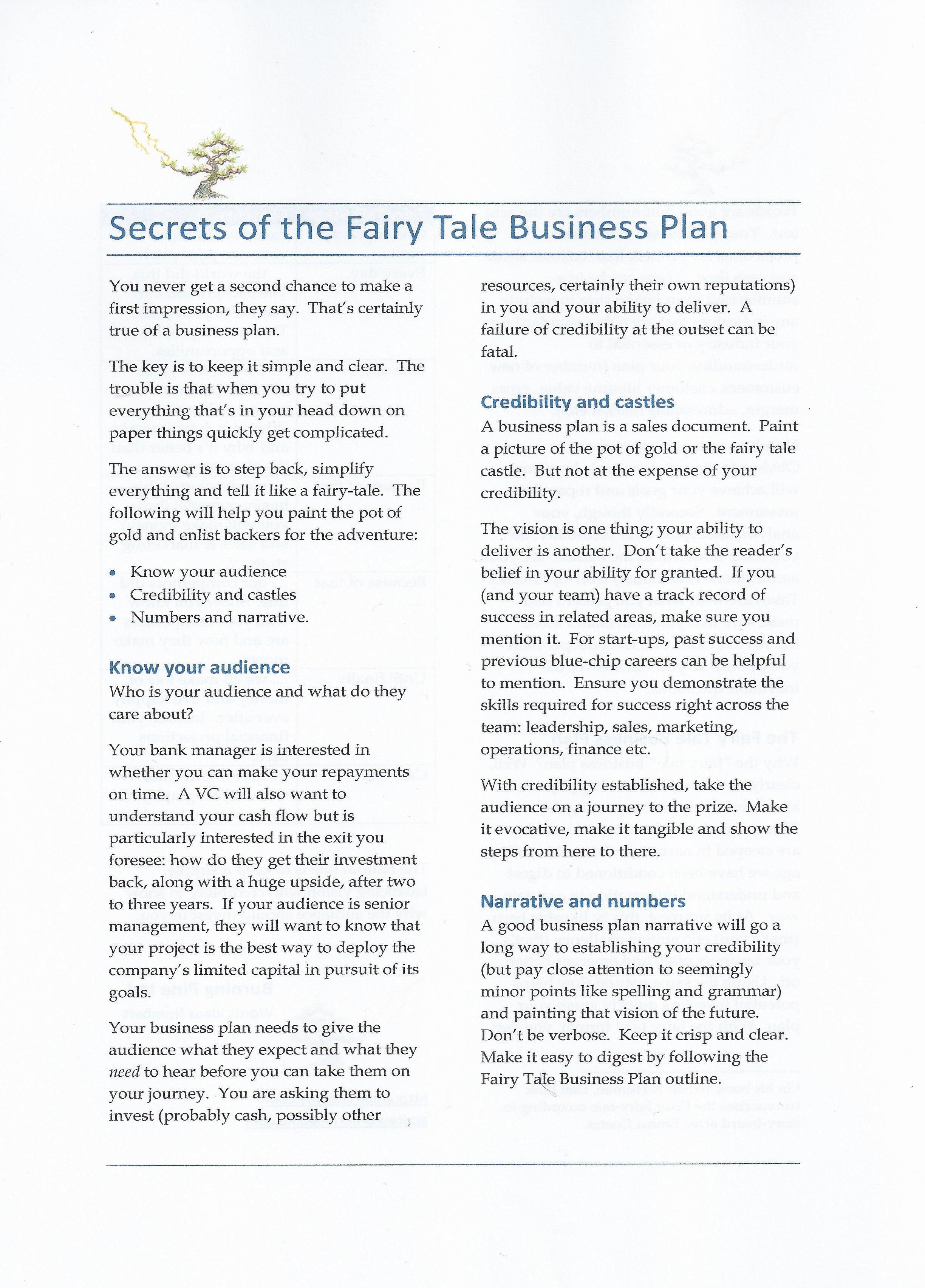 Fairy Tale Business Plan